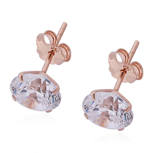 Set of 2 - ELANZA AAAA Special Radiant Cut Simulated Diamond Stud Earrings (with Push Back)  in Rose Overlay Sterling Silver
