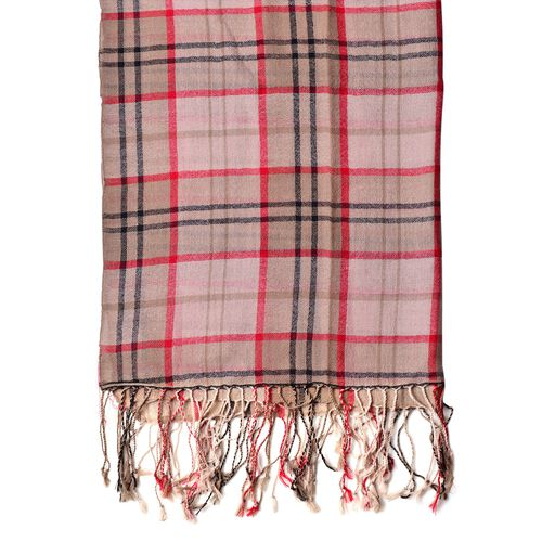 100% Wool Coffee, Red and Multi Colour Checks Pattern Scarf with Tassels (Size 170X68 Cm)