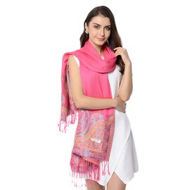 Rose Colour Paisley Pattern Scarf with Tassels (Size 180x68+8 Cm)