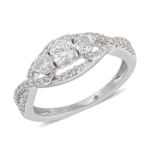 NY Close Out 14K White Gold Diamond (Rnd) (I1-I2/G-H) Ring  0.900 Ct.Size N