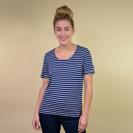 VISCOSE Stripe Jersey Scoop Neck Tee; Stripped style never goes out of fashion; Perfect choice of casual wear flatteringly styled with a scoop neckline; Expertly fashioned in 200gsm viscose,