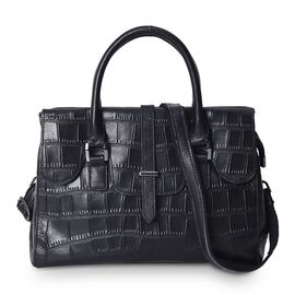100% Genuine Leather Croc Embossed Tote Bag (Size 31x11x23 Cm) with Detachable Shoulder Strap - Blac