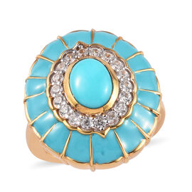 1.50 Ct Arizona Sleeping Beauty Turquoise and Zircon Enamelled Floral Ring in Gold Plated Silver