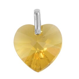 J Francis Crystal from Swarovski - Large Yellow Colour Crystal (Hrt 18mm) Pendant in Sterling Silver