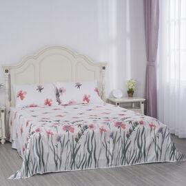 Serenity Night 4 Piece Set - Flower Printed Microfibre 1 Flat Sheet (275x265cm), 1 Fitted Sheet (150x200+30cm) & 2 Pillowcase (50x75cm) in Light Pink