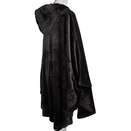 Extremely Soft Silk Touch Velour Lounge Cosy Gown with Slippers in  Dark Grey Colour.