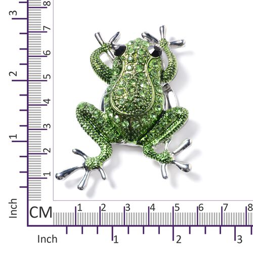 Green and Black Austrian Crystal (Rnd) Frog Brooch