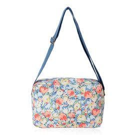 Water Resistant  Light Blue and Multi Colour Floral Pattern Multi Pocket Crossbody Bag with Adjustab