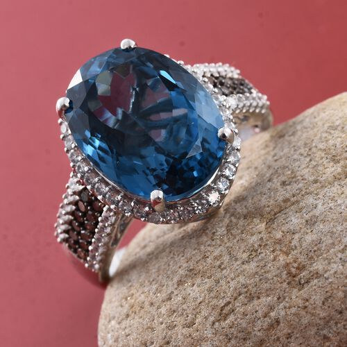 Marambaia London Blue Topaz (Ovl 12.00 Ct), Natural Champagne Diamond and Natural Cambodian Zircon Ring in Platinum Overlay Sterling Silver 12.800 Ct.