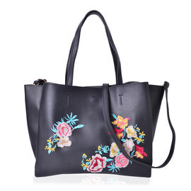 Black, Red and Multi Colour Floral Embroidered Crossbody Bag with Shoulder Strap (Size 28.7X19X7 Cm)