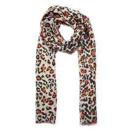 100% Merino Wool Leopard Pattern Scarf (Size 70x180 Cm) - Light Grey