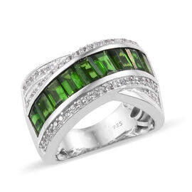 Rare Cut Russian Diopside (Oct), Natural Cambodian Zircon Crossover Ring in Platinum Overlay Sterling Silver 3.250 Ct, Silver wt 7.24 Gms.