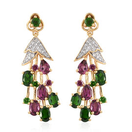 GP Rhodolite Garnet (Ovl), Russian Diopside, Natural White Cambodian Zircon and Multi Gemstone Earrings (with Push Back) in 14K Gold Overlay Sterling Silver 7.500 Ct, Silver wt 7.62 Gms.