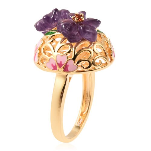 Jardin Collection - Amethyst, Mozambique Garnet Enamelled Floral Ring in Yellow Gold Overlay Sterling Silver Ring 4.20 Ct, Silver wt. 5.58 Gms
