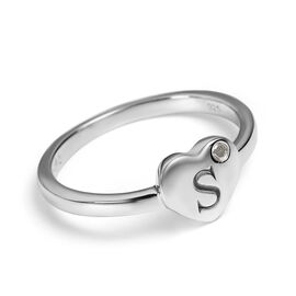 Personalised Initial Heart Diamond Ring in Silver