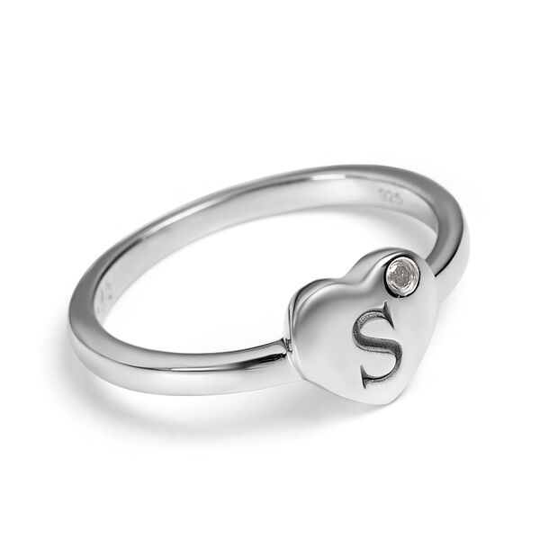 Personalise Initial Heart Diamond Ring in Silver