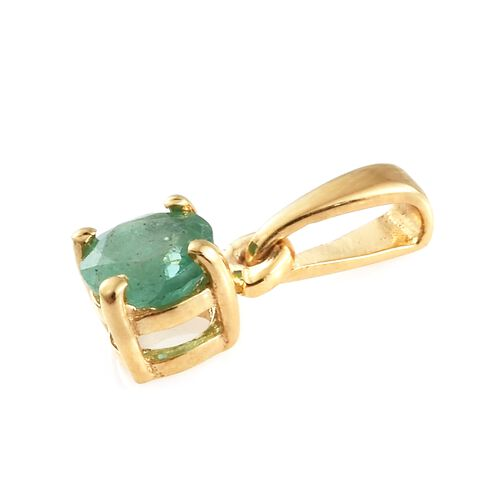 WEBEX- Kagem Zambian Emerald (Rnd) Solitaire Pendant in 14K Gold Overlay Sterling Silver Pendant 0.500 Ct