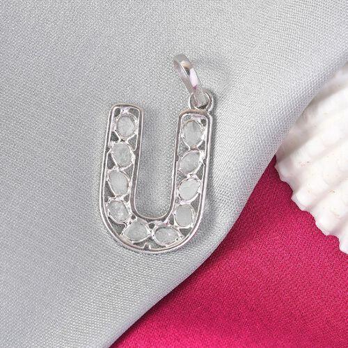Artisan Crafted Polki Diamond Initial U Pendant in Platinum Overlay Sterling Silver 0.50 Ct.