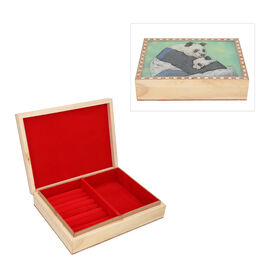 Wooden Storage Box with Panda Gemstone Painting (Size 22x17x6 Cm)