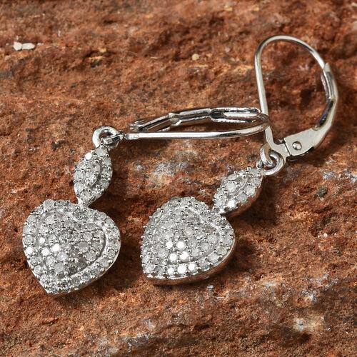 Diamond (Rnd) Heart Lever Back Earrings in Platinum Overlay Sterling Silver