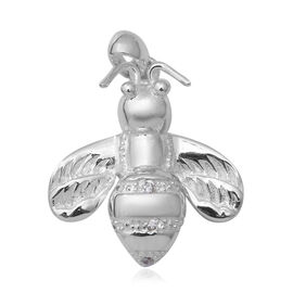 ELANZA Simulated Diamond (Rnd) Bumblebee Pendant in Sterling Silver, Silver wt 5.82 Gms