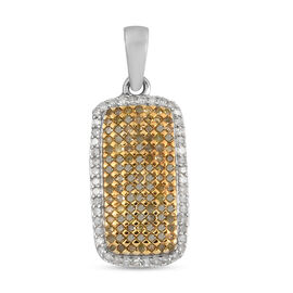 White Diamond & Yellow Diamond Cluster Pendant in Platinum Overlay Sterling Silver 1.00 Ct.