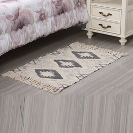 Turkish Style Pattern Tufted Rug with Tassel in Cream and Grey (Size 57x90cm)