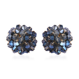 Simulated Blue Sapphire Cluster Stud Earrings (with Push Back) in Gold Tone