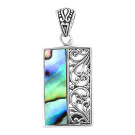Royal Bali Collection - Abalone Shell Pendant in Sterling Silver, Silver wt 3.75 Gms