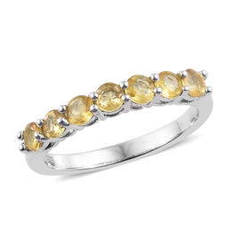 Yellow Sapphire (Rnd) Band Ring in Platinum Overlay Sterling Silver Ring 1.000 Ct.