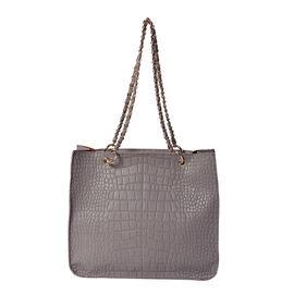 PASSAGE. Color: Grey snake;Size/Profile:Tote bag; Wall (exterior):Semi-PU  (exterior):zip-1; Pockets