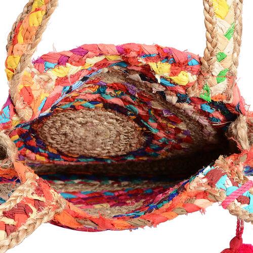 100% Natural Jute and Cotton Multi Colour Circle Pattern Shoulder Bag in Round Shape (Size 33x7.5 Cm)