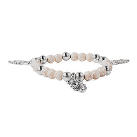 White Howlite (Rnd) Stretchable Beads Bracelet (Size 6.5) with Owl Charms in Antique Silver Plated 4