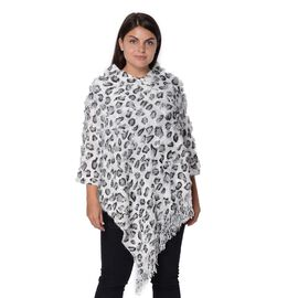 Leopard Pattern Winter Poncho with Tassels (Size 65x80 Cm) - Black and White