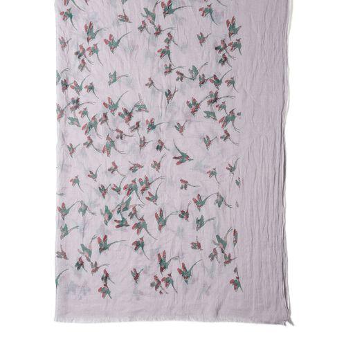 Grey Colour Bird Pattern Scarf (Size 178x100 Cm)