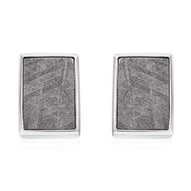 Tucson Special - Meteorite (Bgt) Stud Earrings (with Push Back) in Platinum Overlay Sterling Silver