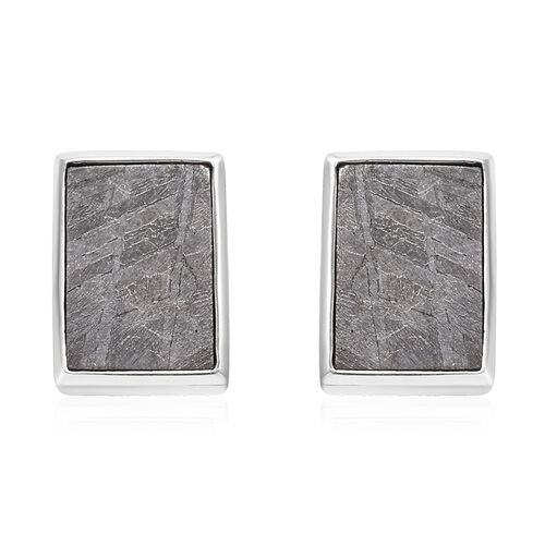 20 Carat Meteorite Solitaire Stud Earrings in Platinum Plated Sterling Silver