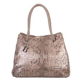 Bulaggi Collection - Jade Snake Print Shopping Bag (Size 35x30x17 Cm) - Camel