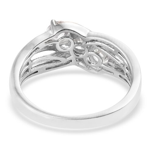 J Francis - Platinum and Rose Gold Overlay Sterling Silver (Rnd) Crisscross Ring Made with SWAROVSKI ZIRCONIA