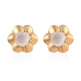 Sri Lankan White Moonstone (1.25 Ct) 14K Gold Overlay Sterling Silver Earring  0.750  Ct.