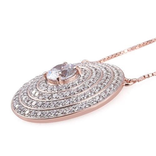 Limited Edition-J Francis - Rose Gold Overlay Sterling Silver (Rnd) Adjustable Necklace (Size 18) Made with SWAROVSKI ZIRCONIA, Number of Swarovski 123 Silver wt 11.87 Gms.
