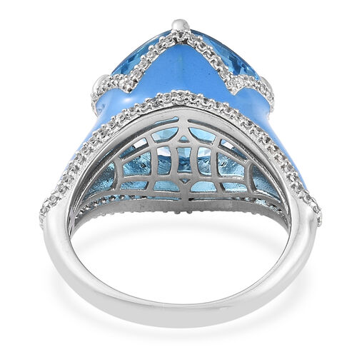 TJC Launch - Marambaia Topaz (Cush 11.00 Ct), Natural Cambodian Zircon Enameled Ring in Platinum Overlay Sterling Silver 11.500 Ct. Silver wt 6.80 Gms. Number of Gemstone 117