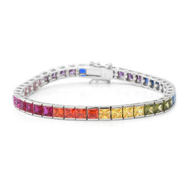 ELANZA Simulated Rainbow Sapphire (Sqr) Bracelet (Size 7.25) in Rhodium Overlay Sterling Silver, Sil