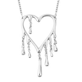 LucyQ Drip Heart Necklace (Size 18) in Rhodium Overlay Sterling Silver, Silver wt 8.71 Gms