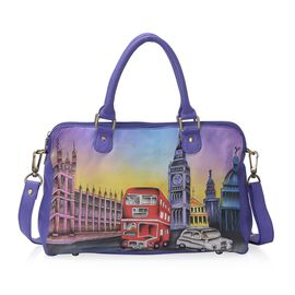 Sukriti - 100% Genuine Leather Mauve and Multi Colour London Street Hand Painted Shoulder Bag with D
