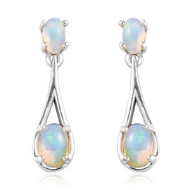Ethiopian Welo Opal (Ovl) Drop Earrings (with Push Back) in Platinum Overlay Sterling Silver 1.00 Ct
