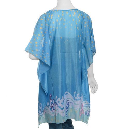 Blue and Multi Colour Digital Printed Kaftan (Size 90x65 Cm)
