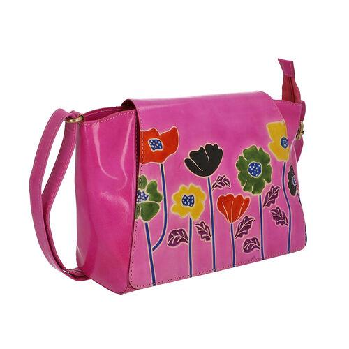 SUKRITI 100% Genuine Leather Floral Print Poppy Design Crossbody Sling Bag (Size 32x8x20 Cm) - Pink