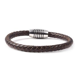 Genuine Braided Leather Bracelet (Size 7.75) in Stainless Steel