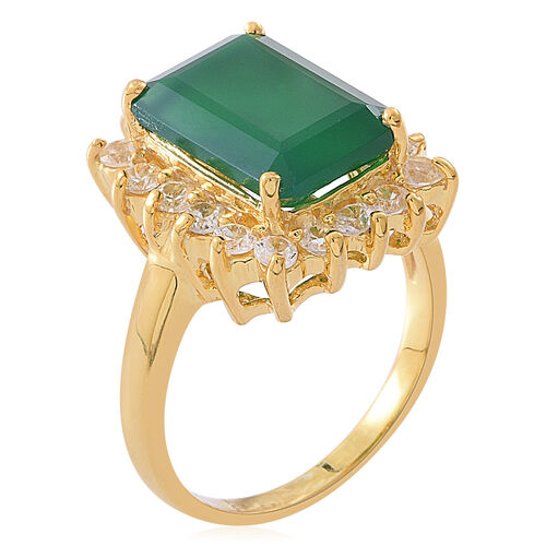 Verde Onyx (Oct 7.00 Ct), Natural White Cambodian Zircon Ring in 14K Gold Overlay Sterling Silver 8.250 Ct. Silver wt 5.96 Gms.
